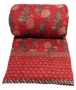 Twin Quilt -  Poppy Red - 100% cotton, reversible quilt. - Anokhi