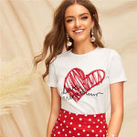 SHEIN Ladies Simple Round Neck Graphic Print