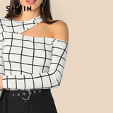 SHEIN Sexy Black and White Asymmetric