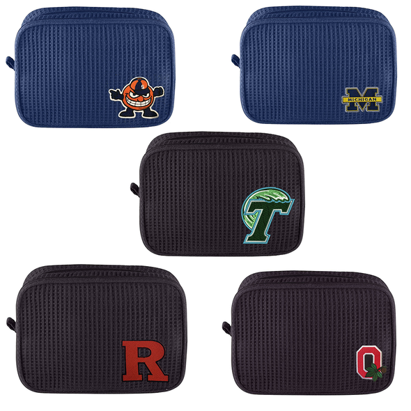 College Patch Waffle Weave Double Compartment Cosmetic Bag