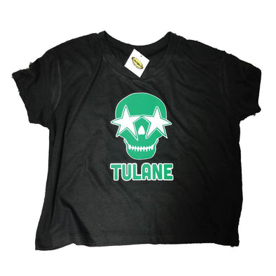 Custom College Cropped T-Shirt w- Star Eyed Skull