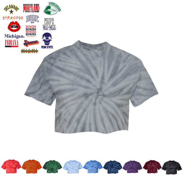 Custom Tie Dye Cropped Tee - College Graphics
