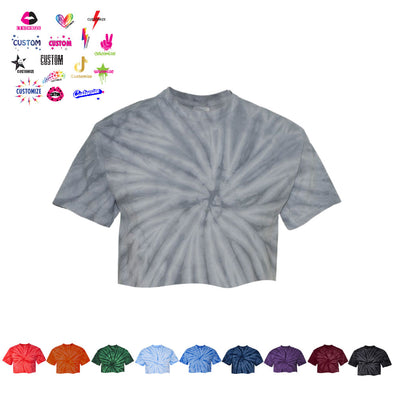 Tie Dye Cropped Tee - Girl's Name Drop - Custom Bar