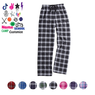 Custom Flannel Pants - Custom Text & Icon