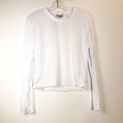 Firehouse Cropped Long Sleeve Soft Tee - White