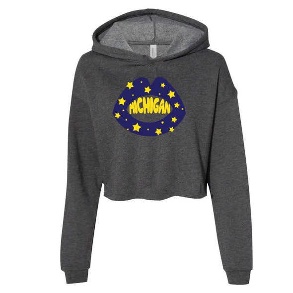 College Star Lips Cropped Hoodie