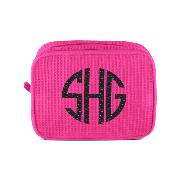 Large Double Compartment Waffle Cosmetic Bag With Monogram