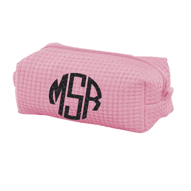 Small Waffle Cosmetic Bag With Monogram