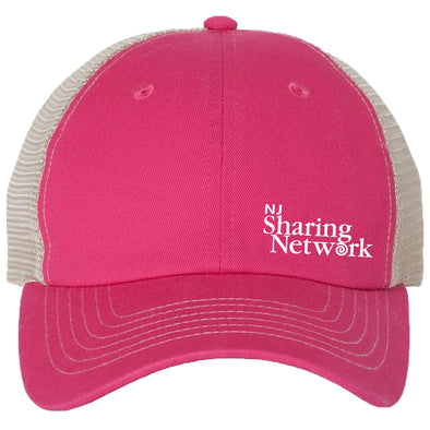 NJ Sharing Network Mesh Back Trucker Hat - Pink