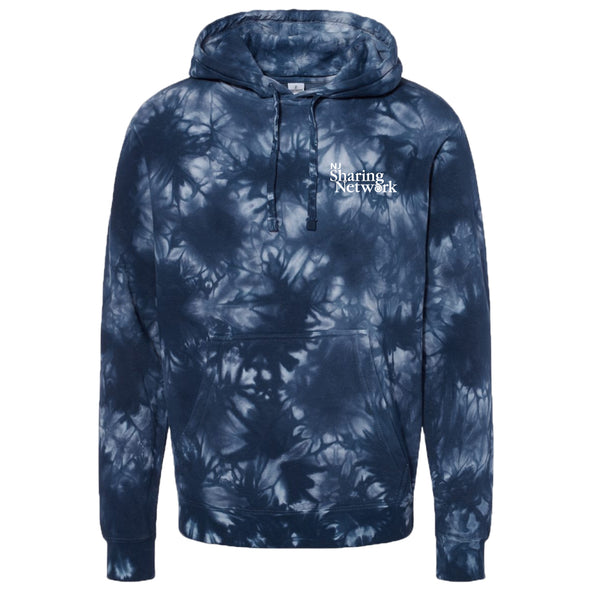 NJ Sharing Network Midweight Tie-Dyed Hooded Sweatshirt - Navy