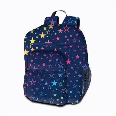 Rainbow Star Canvas 5 zipper Backpack