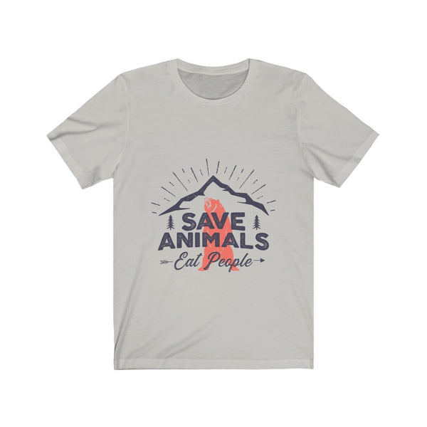 Camping Bear Save Animals Eat People - Unisex Jersey Short Sleeve Tee
