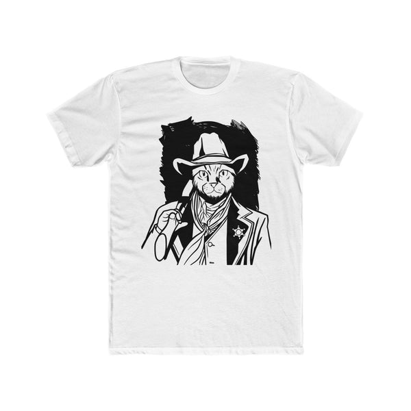 Cow Boy Funny Cat Men's Cotton Crew Tee