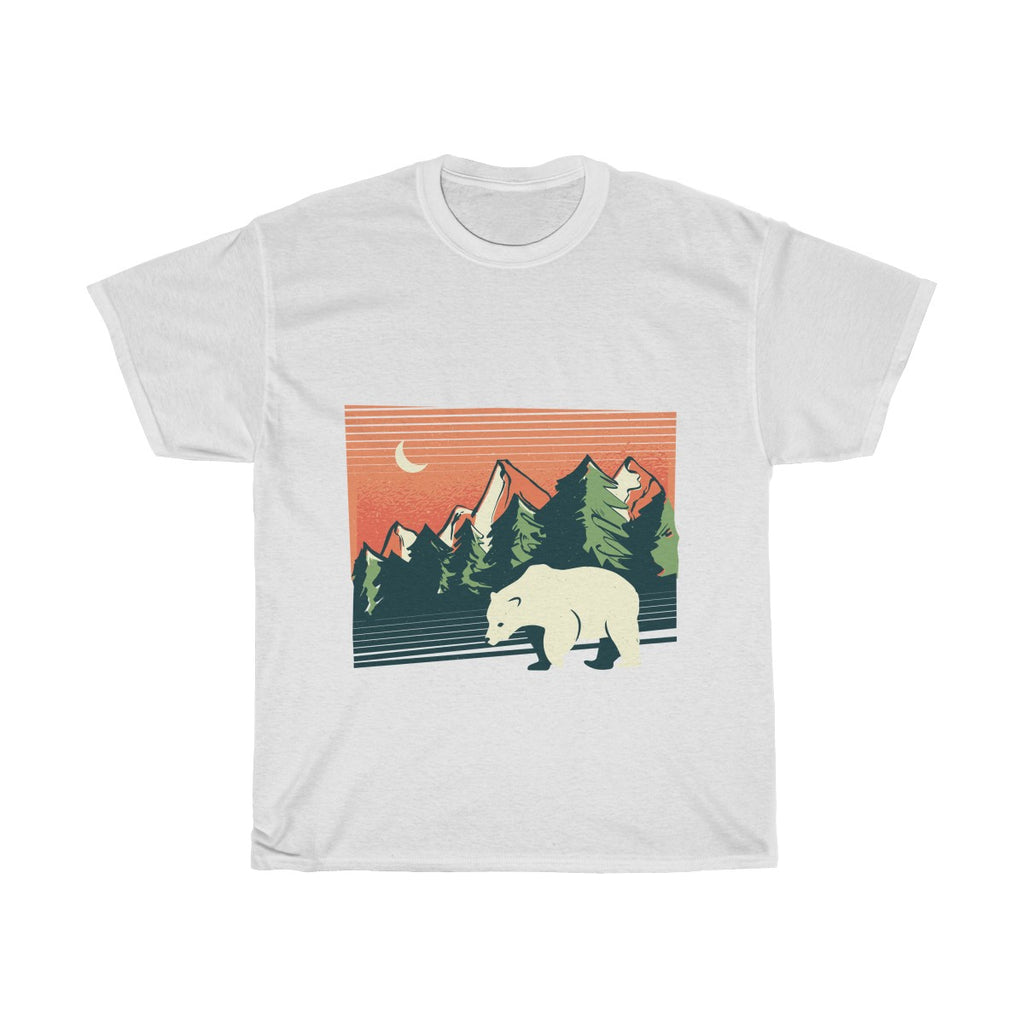 Polar bear landscape Unisex Heavy Cotton Tee