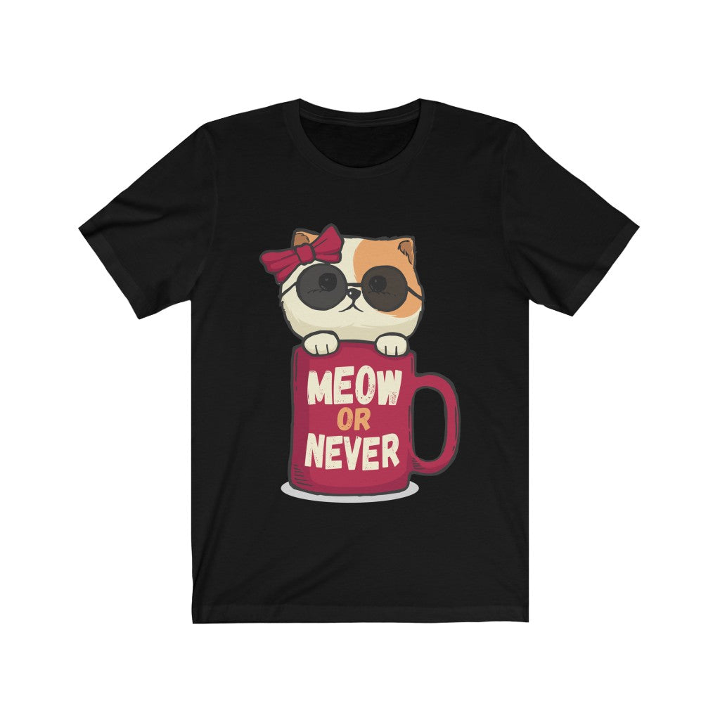 It's Meow Or Never - Unisex Jersey Short Sleeve Tee