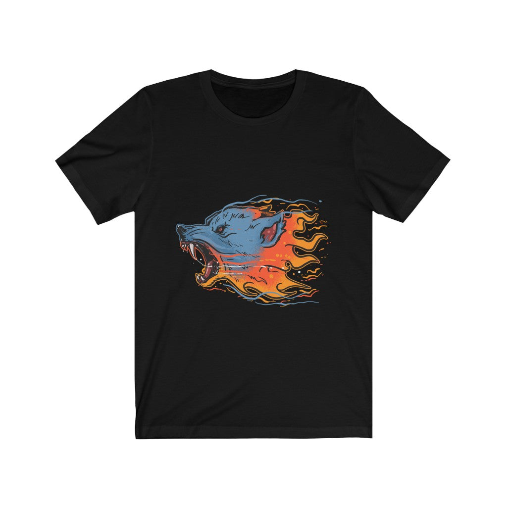 Flaming Fire Wolf Unisex Jersey Short Sleeve Tee