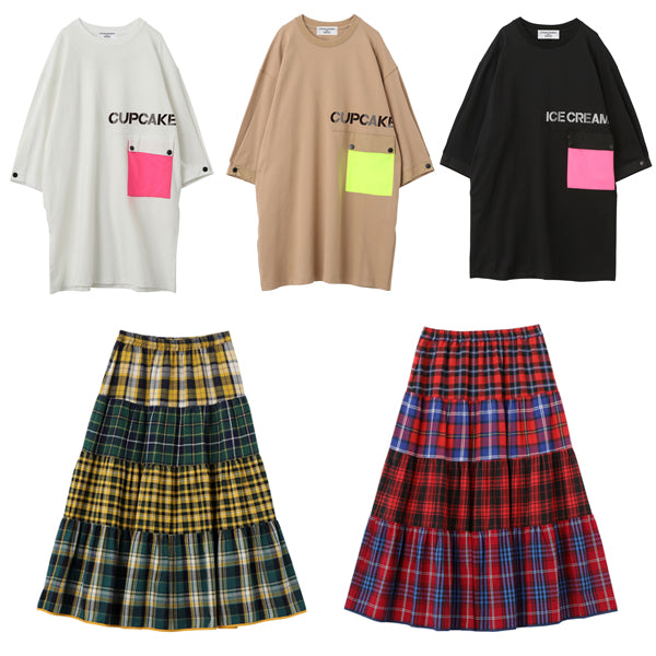 NEON POCKET SS TEE、PLAID TIERED SKIRT再販のお知らせ