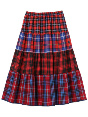 """CUPCAKE ICE CREAM"" PLAID TIERED SKIRT【RED】"
