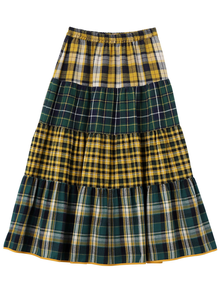 "【再販】""CUPCAKE ICE CREAM"" PLAID TIERED SKIRT【YELLOW】"