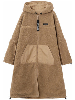 CUPCAKE ICE CREAM. REVERSIBLE HOODED BOA LONG COAT【BEIGE】