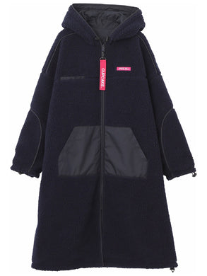 CUPCAKE ICE CREAM. REVERSIBLE HOODED BOA LONG COAT【NAVY】