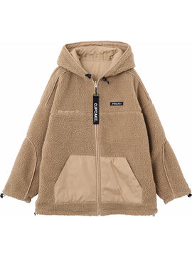 CUPCAKE ICE CREAM. REVERSIBLE HOODED BOA BLOUSON【BEIGE】