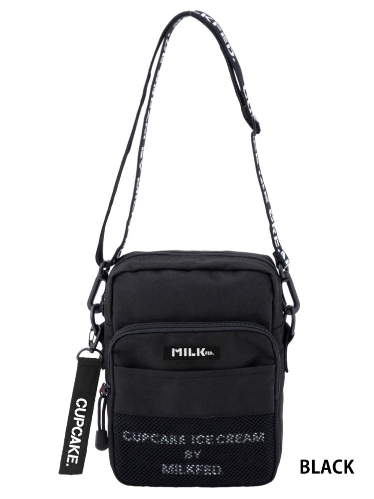 MESH POCKET SHOULDER BAG CUPCAKE ICECREAM BY MIKFED.(スタンダード ロゴ)【BLACK】