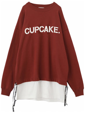 CAPCAKE ICE CREAM. LAYERED LOGO TOP 【BURGUNDY】