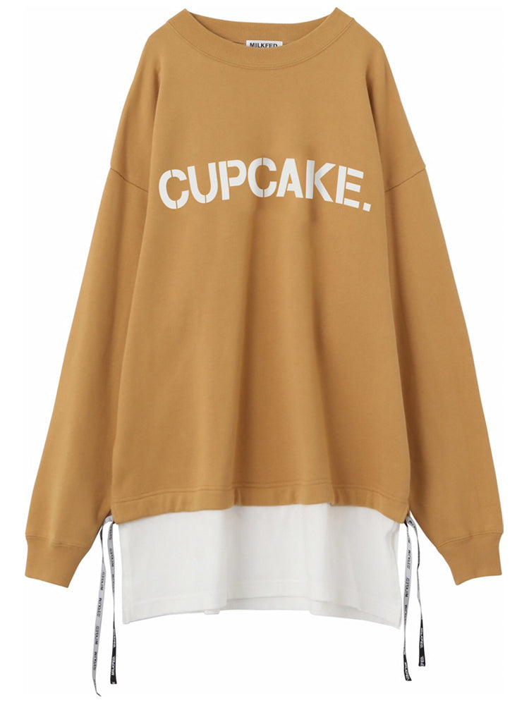 CUPCAKE ICE CREAM. LAYERED LOGO TOP 【BEIGE】