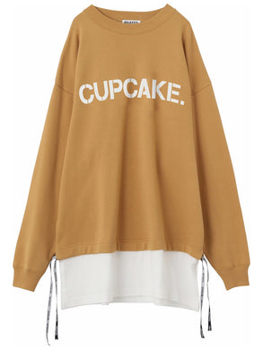 CAPCAKE ICE CREAM. LAYERED LOGO TOP 【BEIGE】