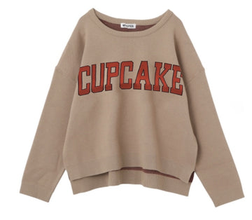 CUPCAKE ICE CREAM. LOGO KNIT TOP【BEIGE】