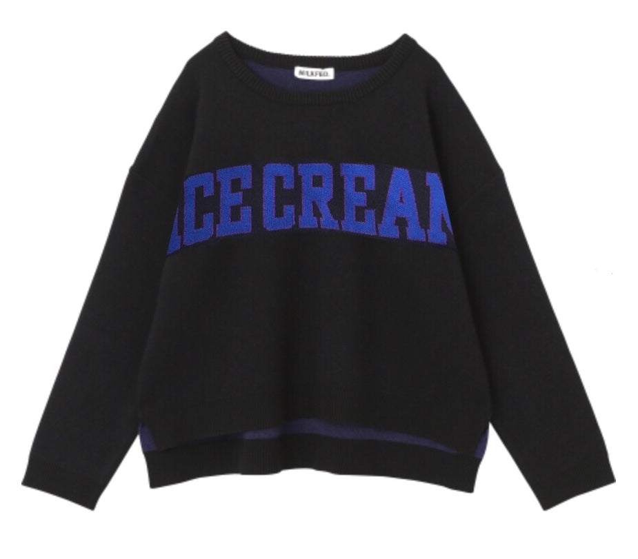 CUPCAKE ICE CREAM. LOGO KNIT TOP【BLACK】