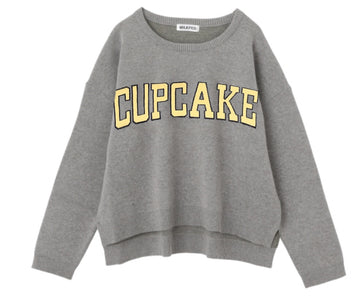 CUPCAKE ICE CREAM. LOGO KNIT TOP【ASH】