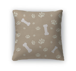 Throw Pillow, With Dog Paw Print And Bone