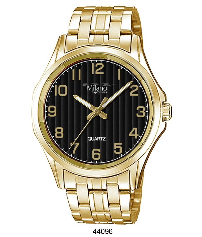 M Milano Expressions Gold Metal Band Watch with Black Dial