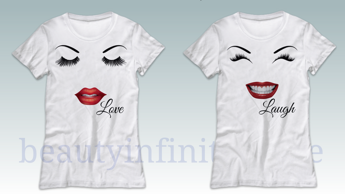 Womens Lovely Tee, eyelashes and lips, choose style and size, includes shipping, see size chart
