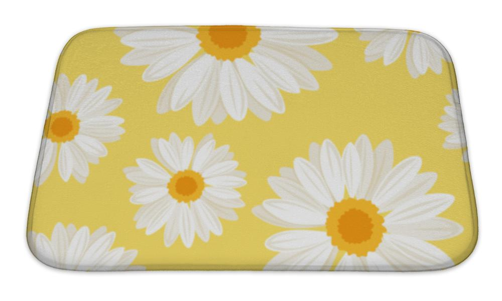 Bath Mat, With Daisy Flowers On Yellow Illustration