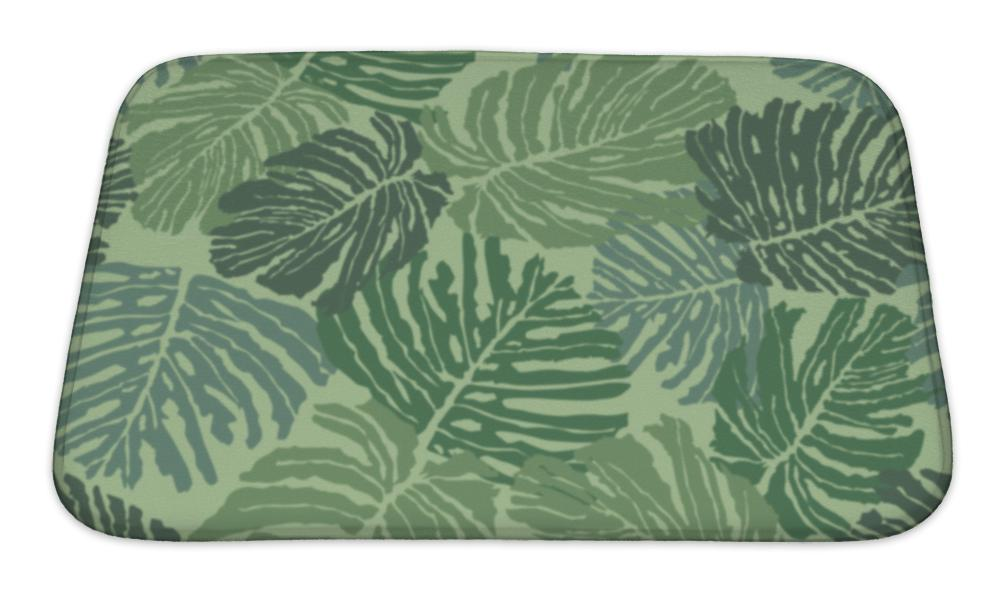 Bath Mat, Abstract Floral Tropical With Fern