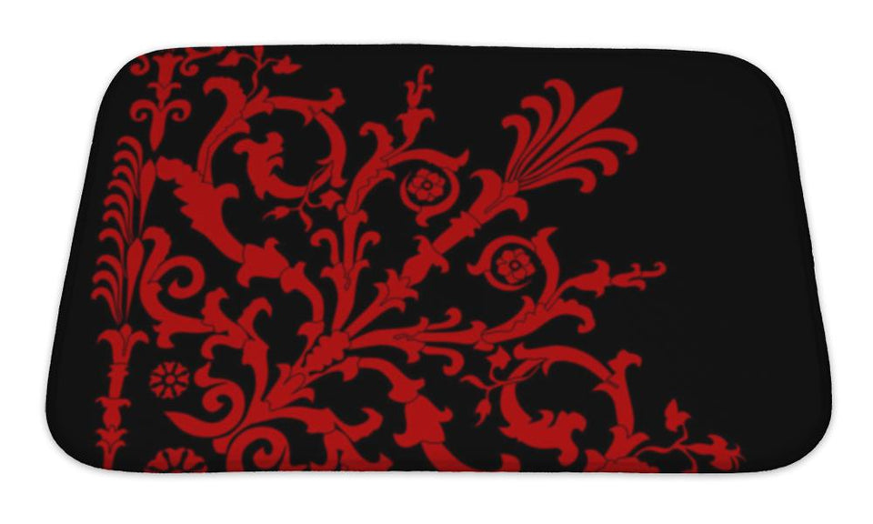 Bath Mat, Red On Black Corner Pattern