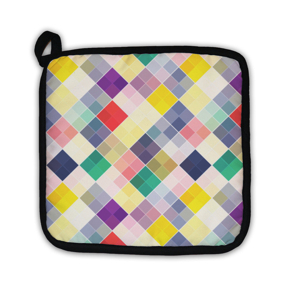 Potholder, Retro Pattern Colorful Mosaic Banner Repeating Geometric Tiles With Colored