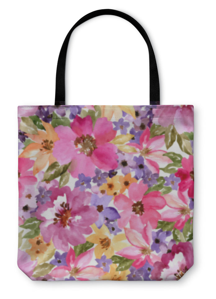Tote Bag, Beautiful Floral Pattern Watercolor Painting