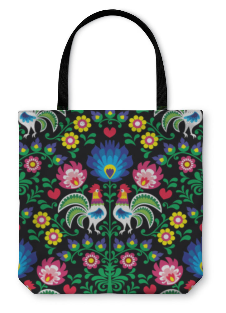 Tote Bag, Polish Folk Art Pattern With Roosters Wzory Lowickie Wycinanka