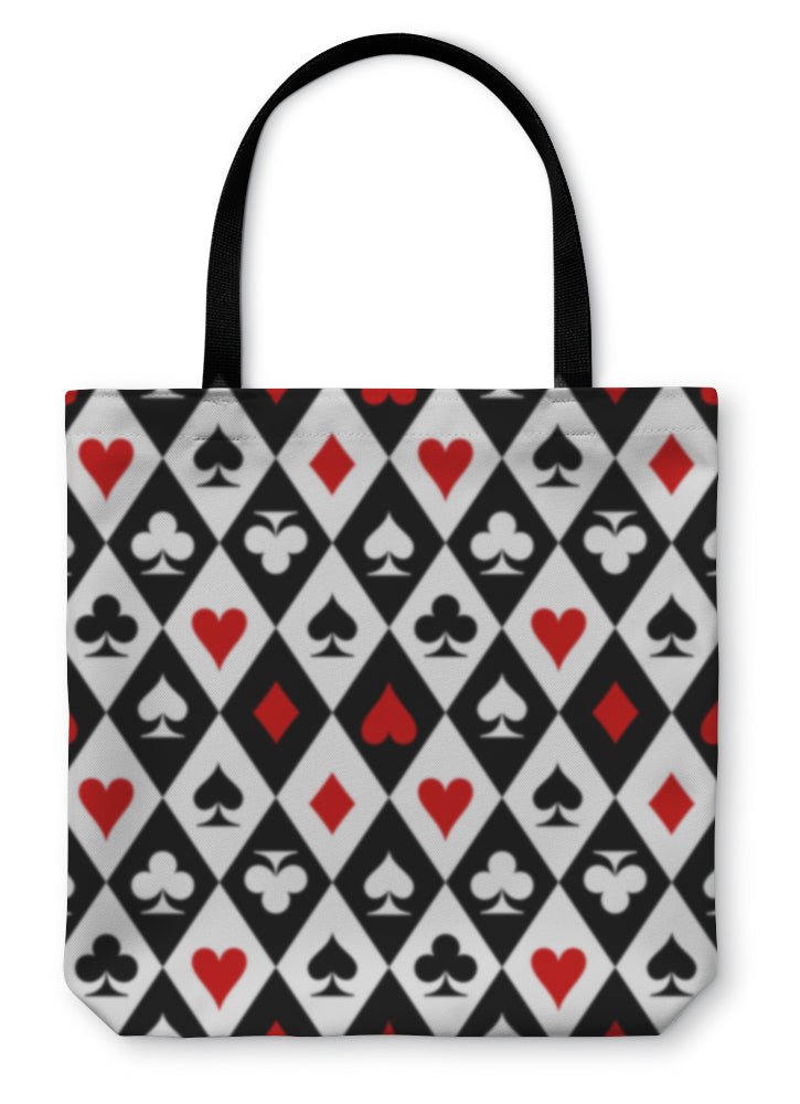 Tote Bag, Playing Cards Suit Symbols Pattern Design