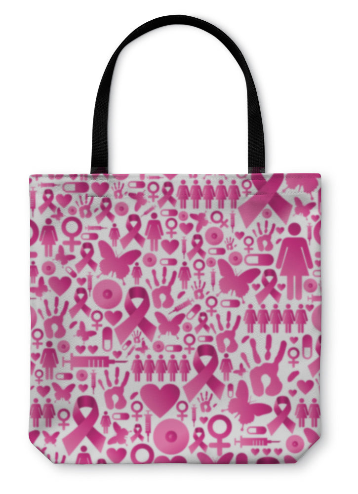 Tote Bag, Breast Cancer Awareness Pattern