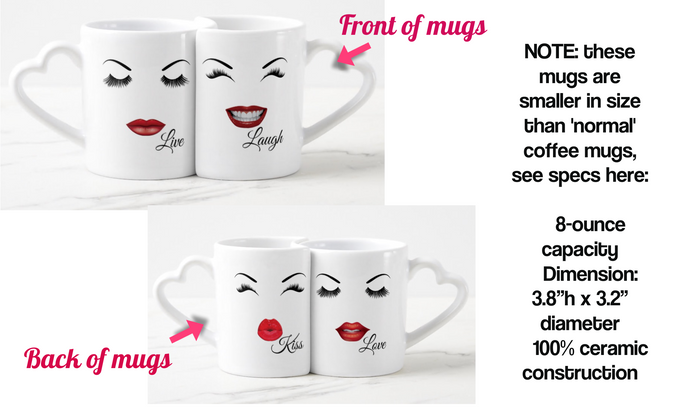 Two Mug Set 8 oz. capacity, includes shipping, heart shaped handles, interlocking mugs