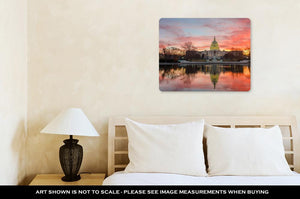 Metal Panel Print, Washington Dc Capitol Building Cloudy Sunrise Mirror Reflection