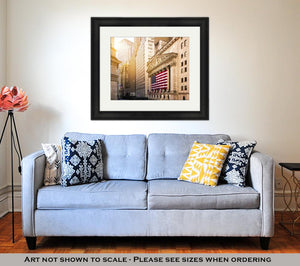 Framed Print, Famous Wall Street And The Building In New York New York Stock Exchange With