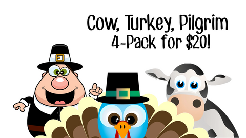 Cow, Turkey, Pilgrim 4-Pack