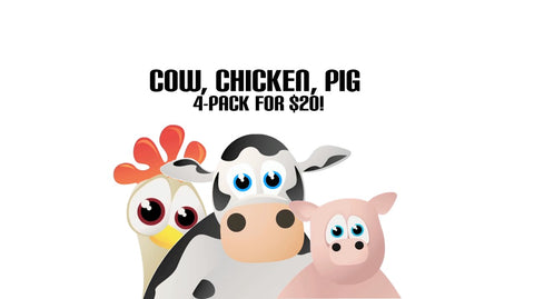 Cow, Chicken, Pig 4-Pack