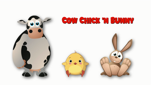 Cow, Chick N Bunny - Version 1